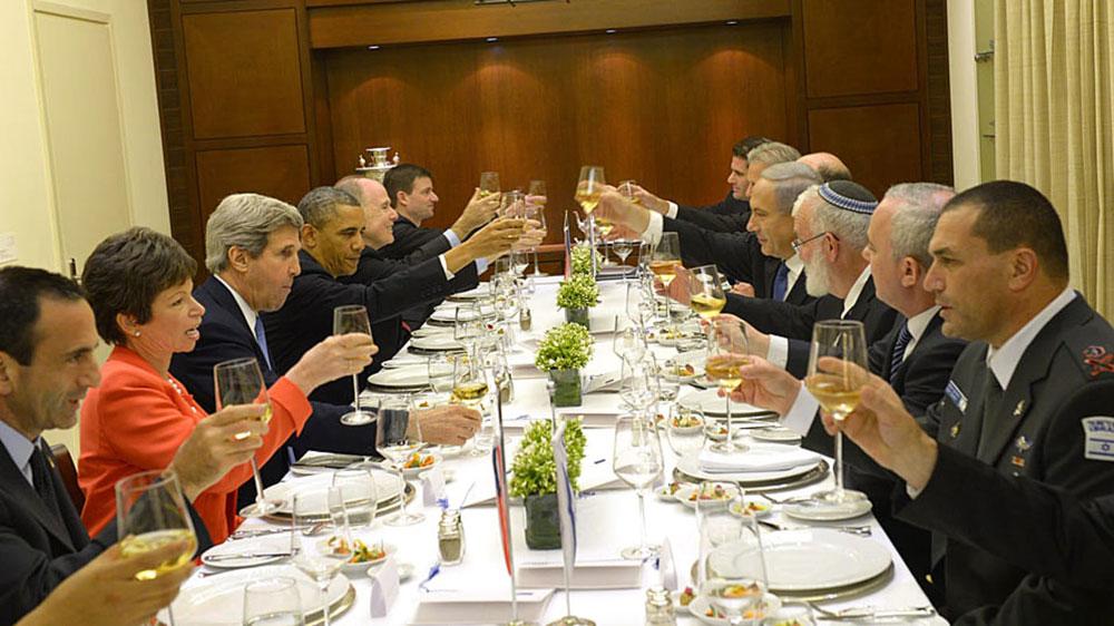 """נשיא ארה""""ב לשעבר ברק אובמה בארוחת ערב חגיגית במעון ראש הממשלה, מרץ 2013 צילום: אבי אוחיון, לע""""מ"""