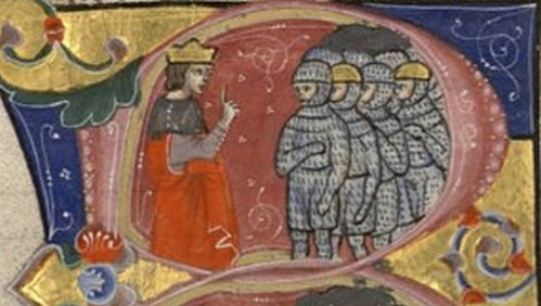 בלדווין הרביעי בראש צבאו מתוך כתב יד משנת 1295