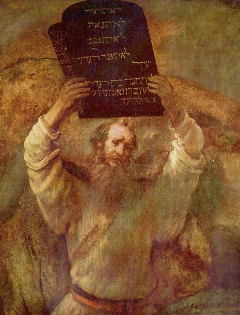 """""""משה ולוחות הברית"""", ציור של רמברנדט, 1659"""