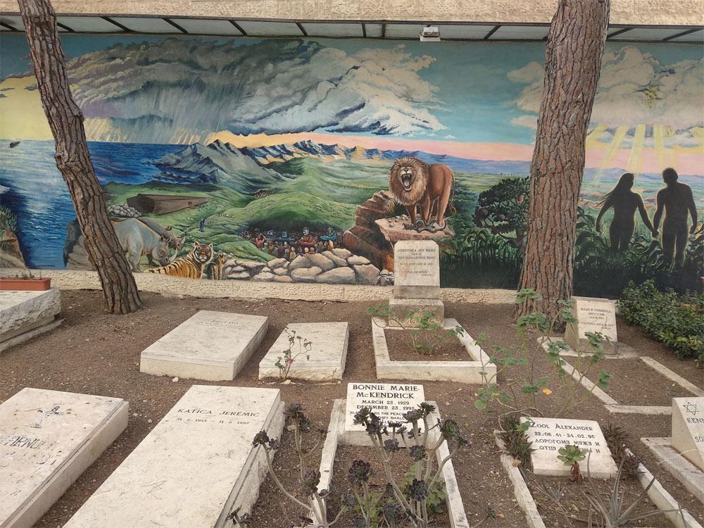 קטע מהקיר החיצוני של בית הקברות צילום: דוד שי